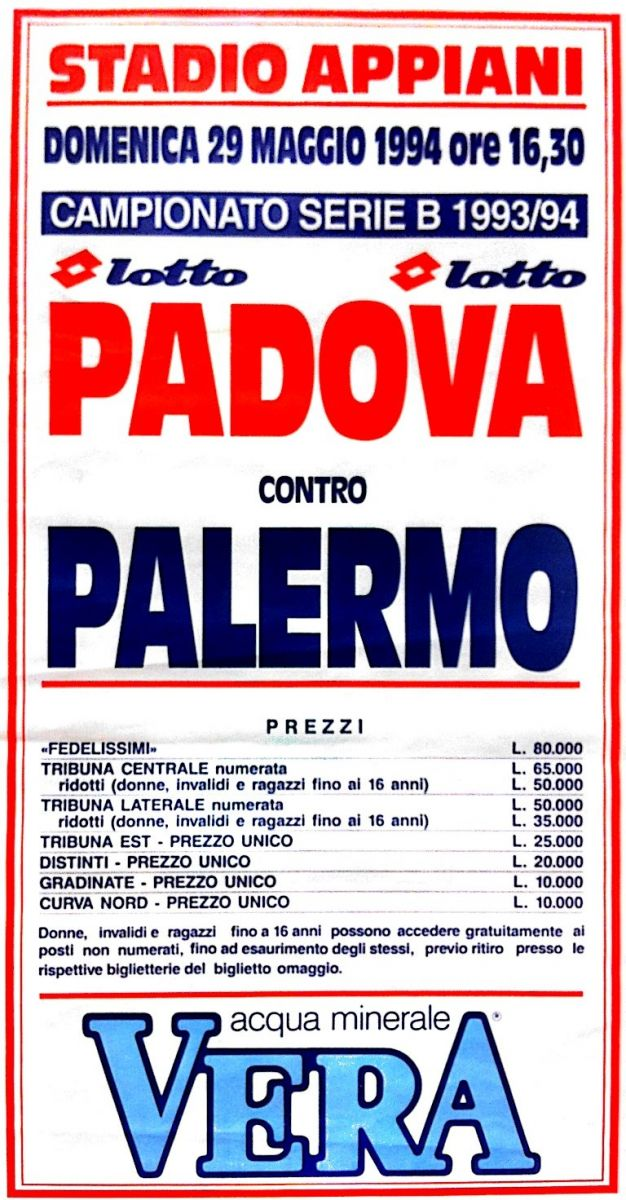 L'ultima gara dell'Appiani - Padova-Palermo